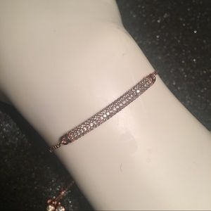 Rose Gold Plated Pave CZ Bar Adjustable Bracelet